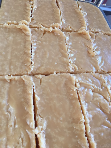 Tray of golden homemade Scottish Tablet