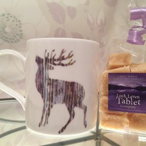 Silver Stag Mug and 150g of Homemade Scottish Tablet