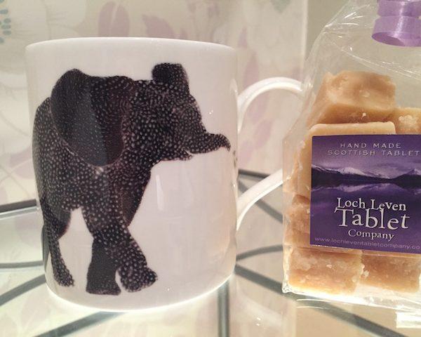 Chloe Garden Elephant Mug with 150g Homemade Scottish Tablet