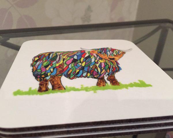 Colourful Highland Cow Coaster