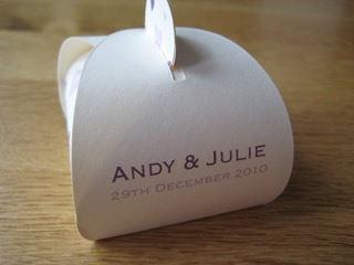 Wedding Favour box with personalised name and dates