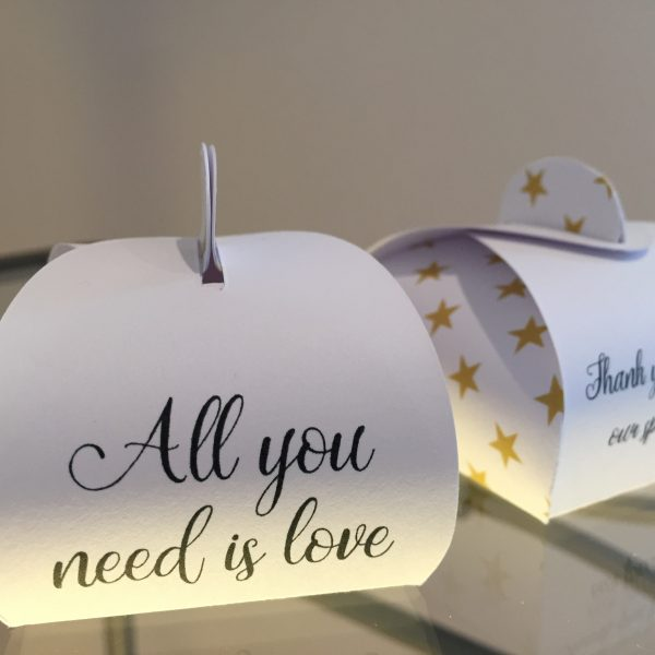 All you need is Love - Personalised Wedding Favour