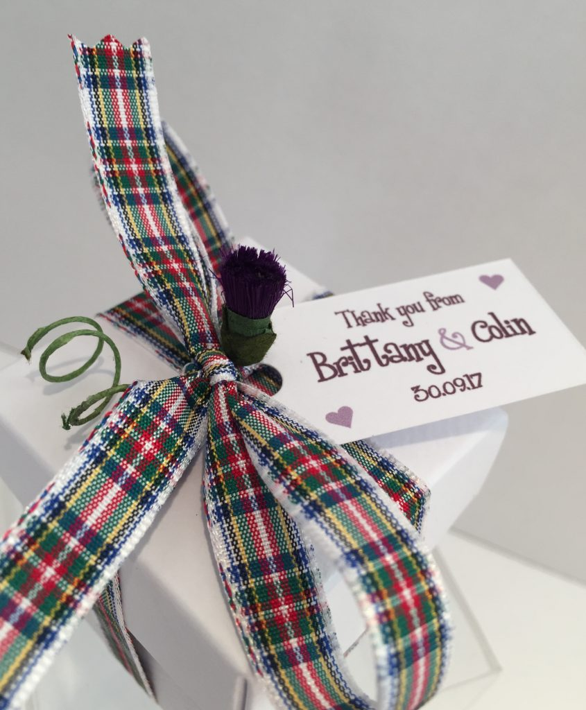 Luxury Scottish Tablet Wedding Favour Box (Choice of Filling, Tartan  Ribbon, Personalised Tag and Thistle)