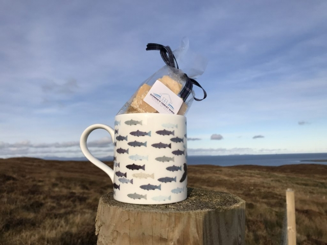 Whale fine bone china mug with Donnie's homemade Scottish Tablet inside.