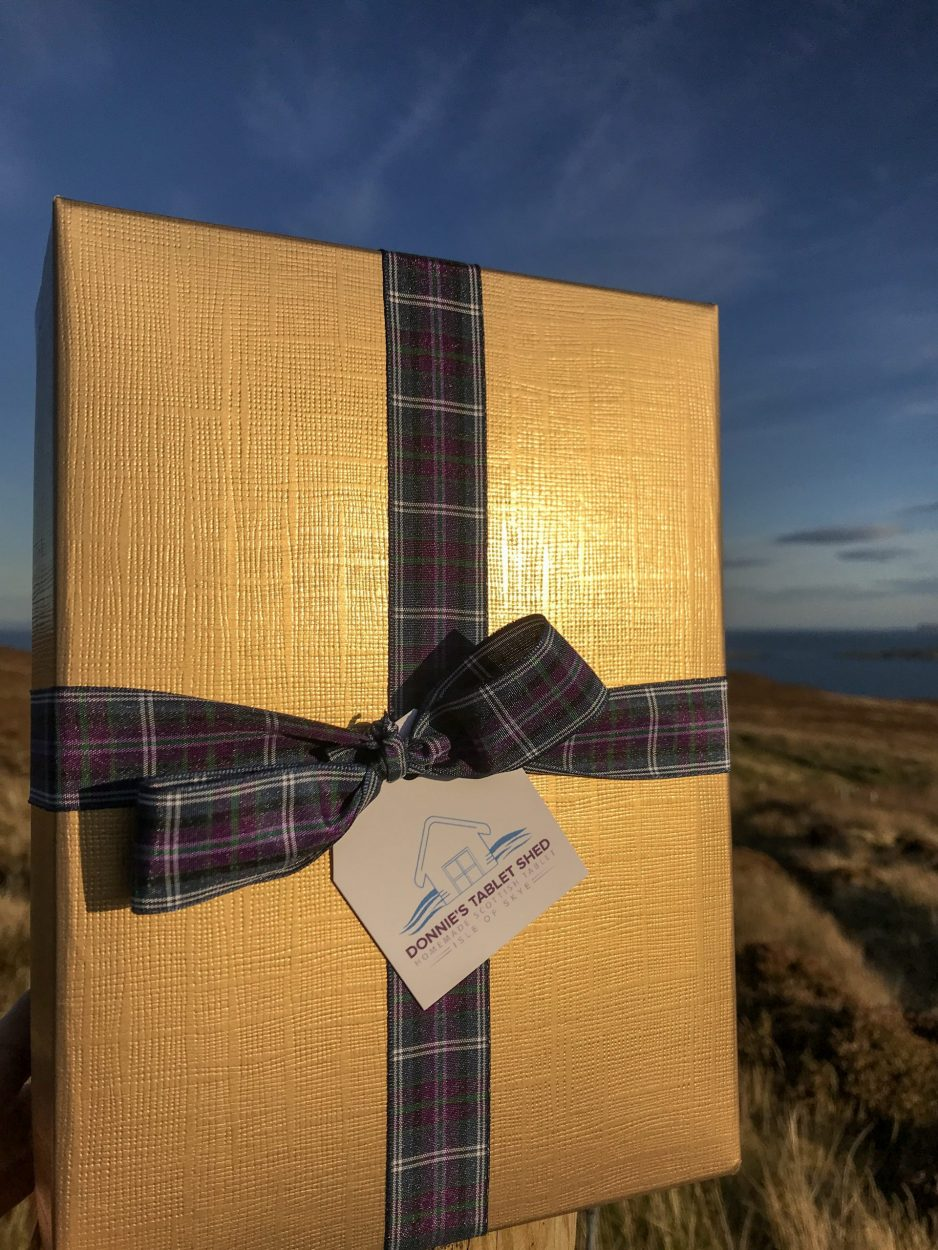 Scottish Corporate Gift Box filled with Scottish Treats and the option to have your company logo on the box.