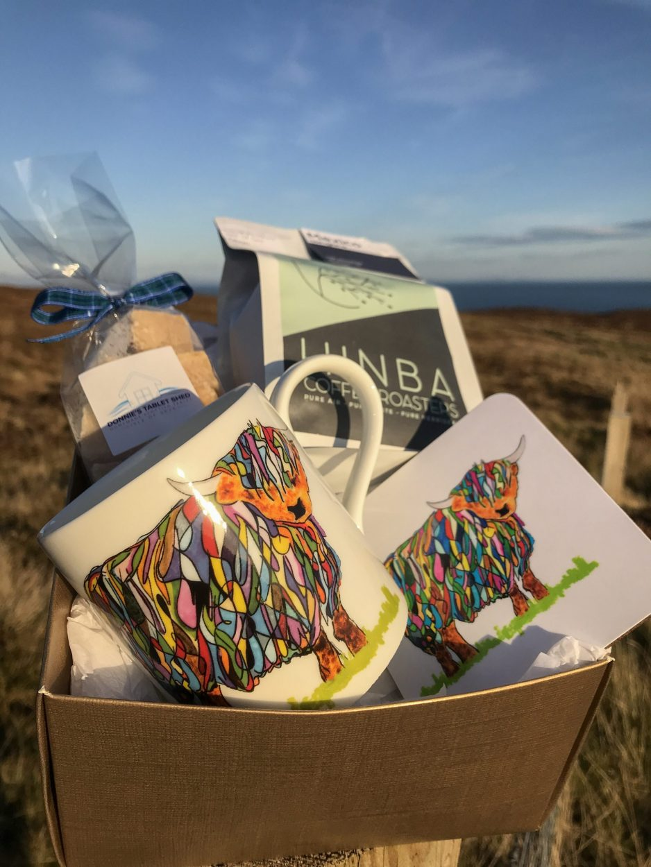 Scottish Gift Box with Highland Cow Mug, Coaster, Coffee and Donnie's homemade Scottish Tablet