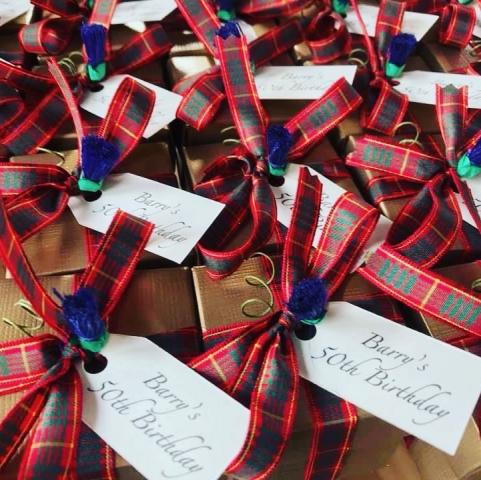 Golden Boxes with Cameron Tartan Ribbon and a 50th Birthday personalised tag