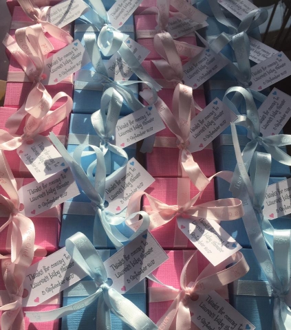 Pink and Blue boxes for Lauren's Baby Shower party.  Personalised tags and boxes filled with Donnie's Homemade Scottish Tablet.