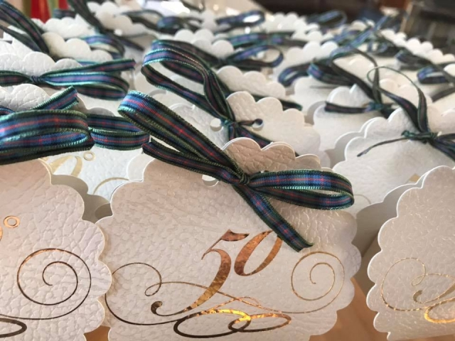 50th Wedding anniversary clam style favours filled with homemade Scottish Tablet