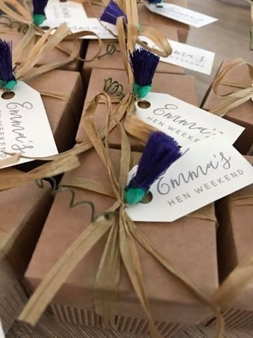 Rustic Favour boxes filled with Donnie's Homemade Tablet for Emma's Hen Weekend.