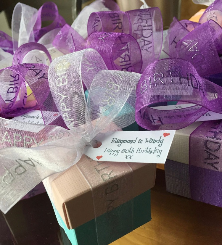 Colourful Happy Birthday Favours for Raymond and Wendy's 50th Birthday Party - all filled with Donnie's Homemade Scottish Tablet