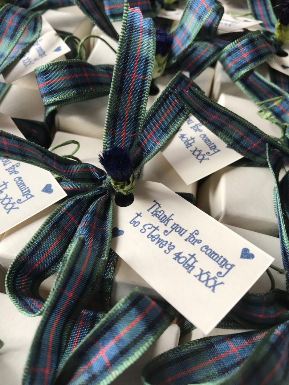 Flower of Scotland Tartan Favours filled with Donnie's Homemade Scottish Tablet for Steve's 40th Birthday - you can personalise the tag with your message